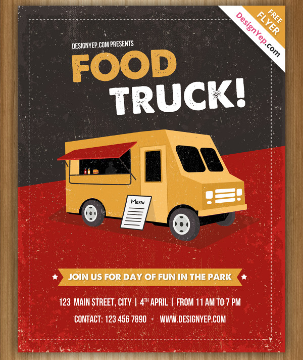 Vintage Food Truck Free PSD Flyer Template