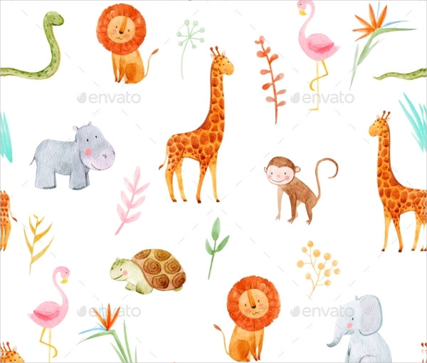 Watercolor Baby Pattern with Animals