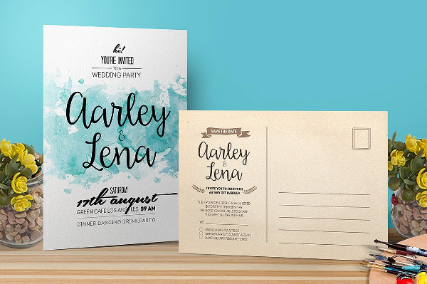 Wedding Party Invitation with Postcard