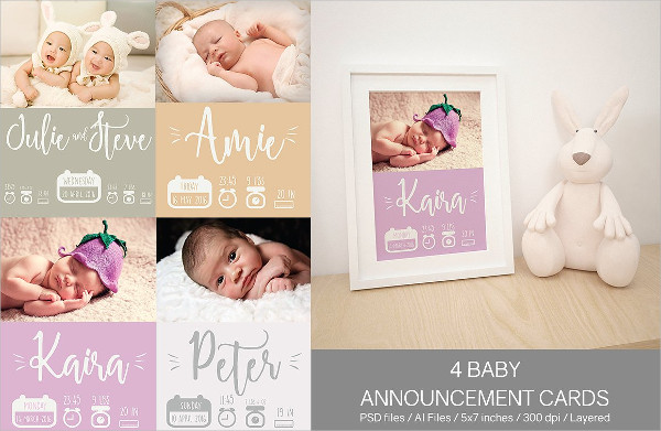 4 Printable Baby Announcement Cards