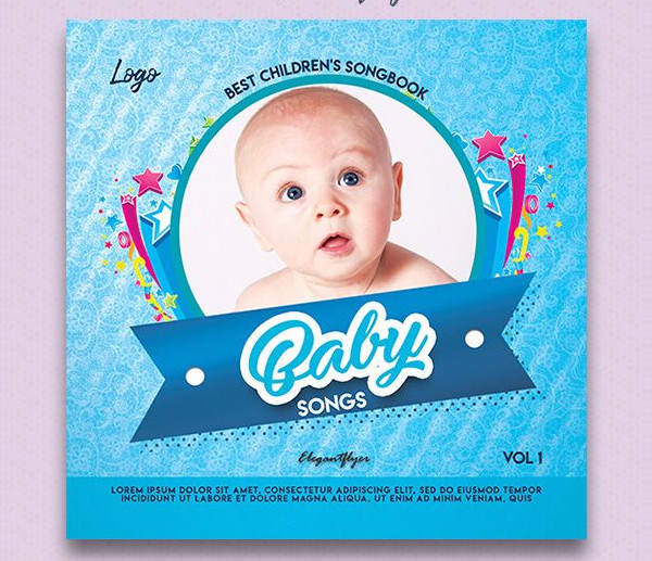 Baby Songs Free PSD CD Cover Template