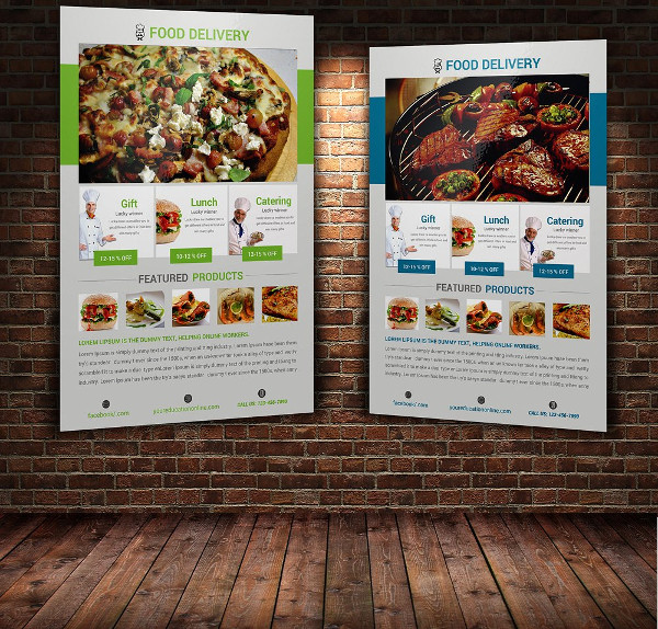 Colorful Fast Food Delivery Flyer Template