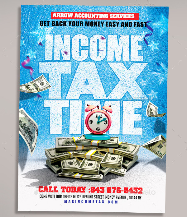 Unique Income Tax Time Flyer Design