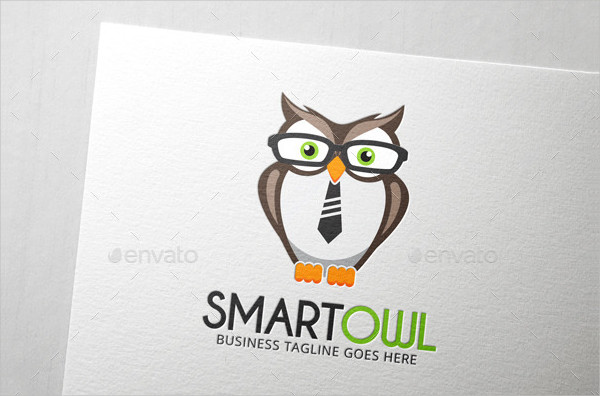 Cute Brown Owl Bird Logo Design