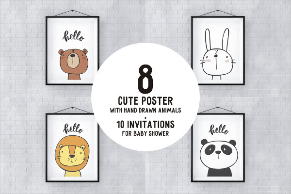 Cute Cartoon Posters with Hand-Drawn Animals