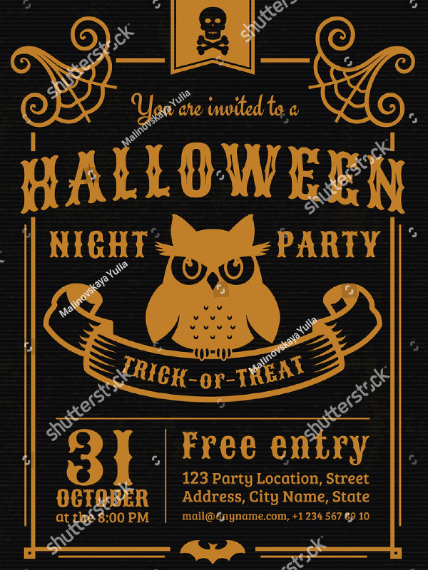 Vintage Halloween Night Party Invitation Template
