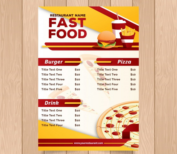 Fast Food or Restaurant Menu Flyer Free