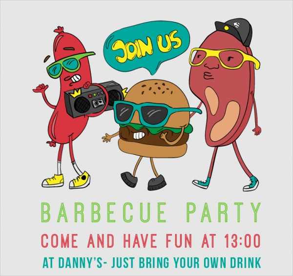 Free Barbecue Party Poster Cartoon Vector