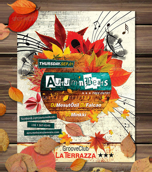 Grunge Autumn Poster Template