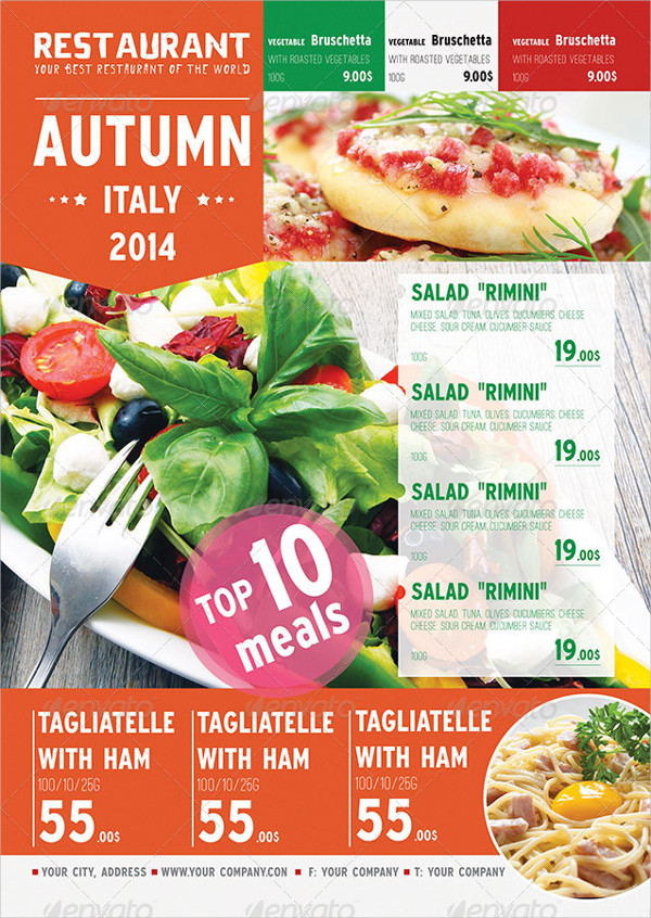 Italian Autumn Menu Poster Template