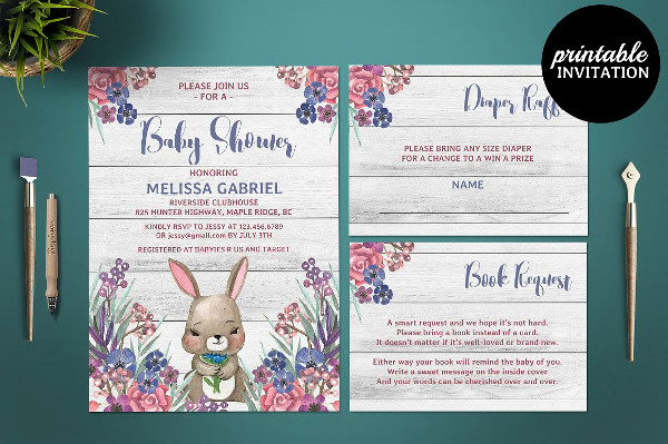 PSD Baby Shower Card Template