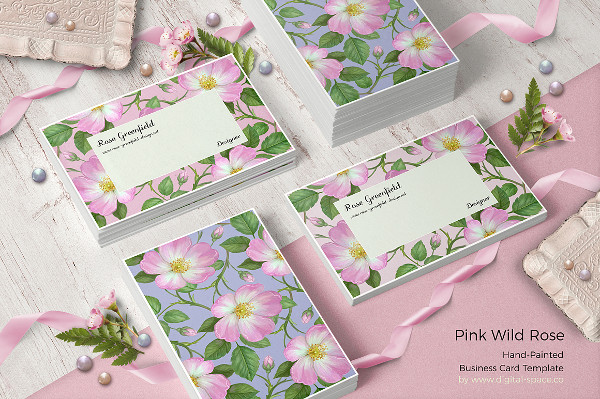 Pink Wild Rose PSD Business Card Template