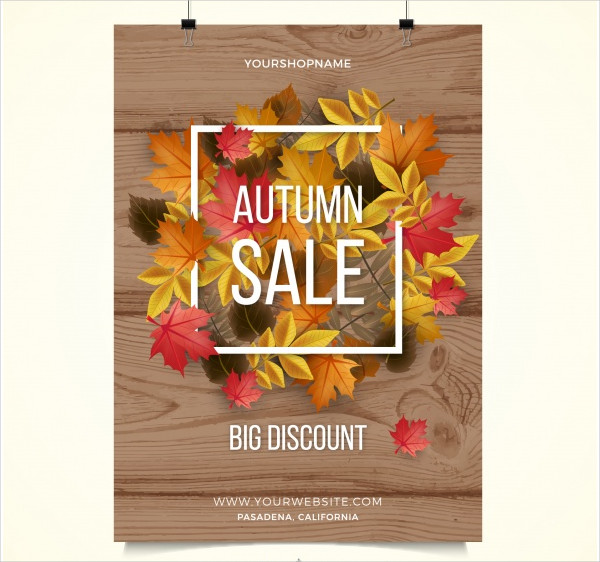 Sale Poster with Dry Autumn Leaves Free