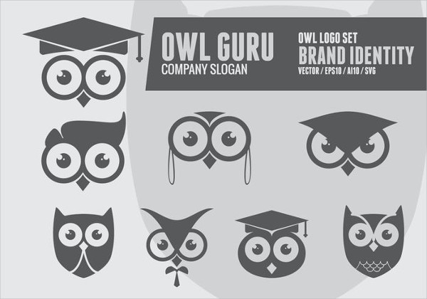 Set of Geek Owl Logos Free