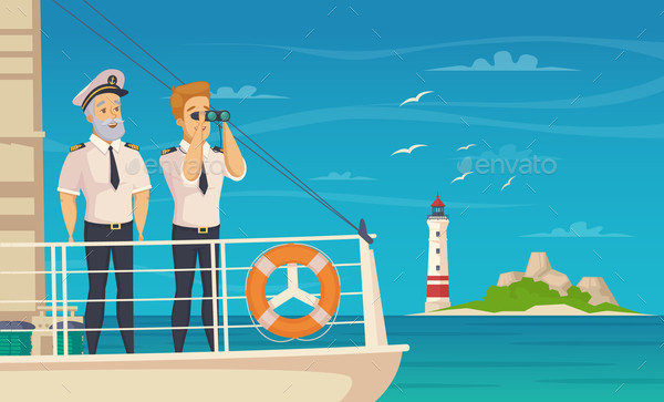 Ship Crew Captain Cartoon Vector Poster