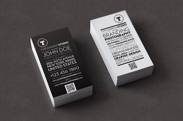 Typography Studio Black Business Card Template