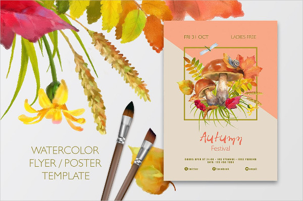 Watercolor Autumn Poster Design