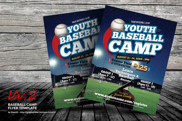 Youth Baseball Camp Flyer Templates