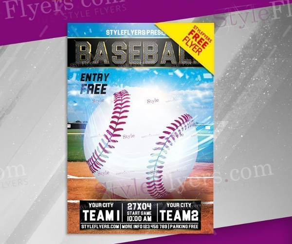Baseball Free PSD Flyer Template