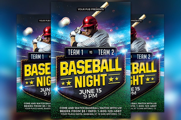 Baseball Match Flyer Template