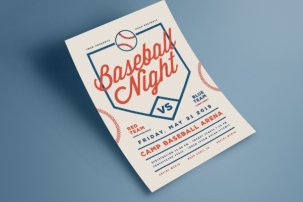 Baseball Night Game Flyer Template