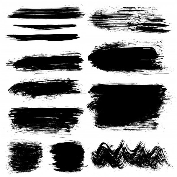 Black Hand Painted Brush Strokes Free Vector