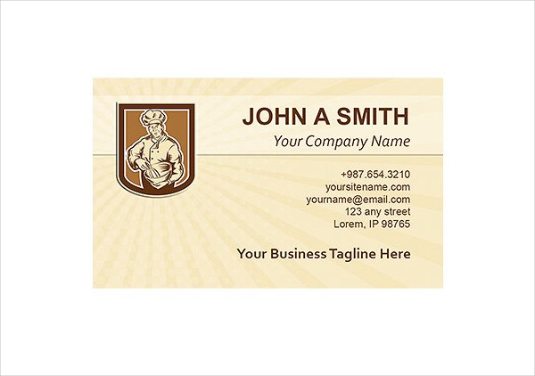 Business Card Template Baker Chef