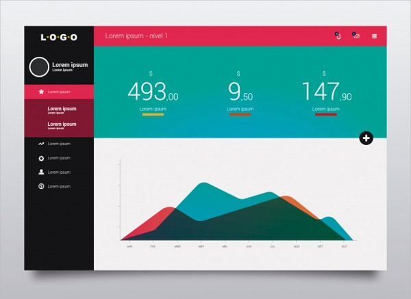 Dashboard Template With Graphic Free Vector