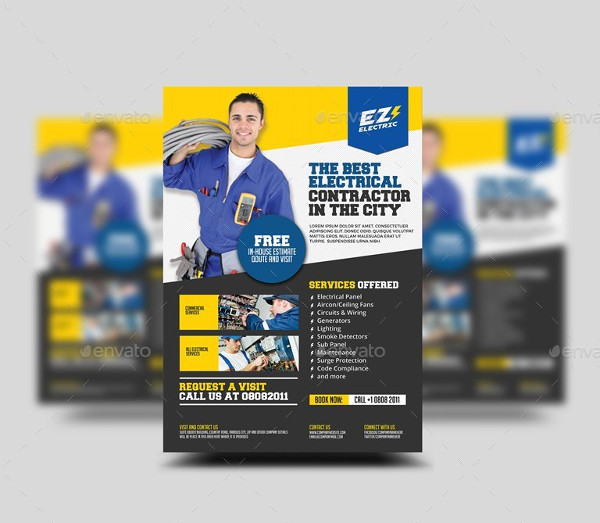 Unique Electrician Shop Flyer Design