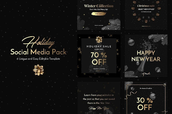 Unique Holiday Social Media Pack