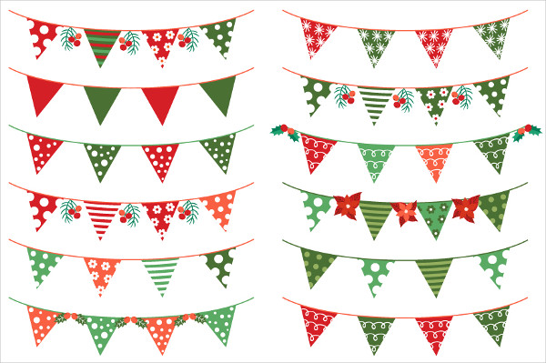 Red and Green Christmas Bunting Banners