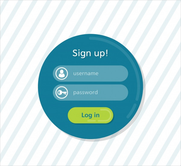 Round Login Form Template Free Vector