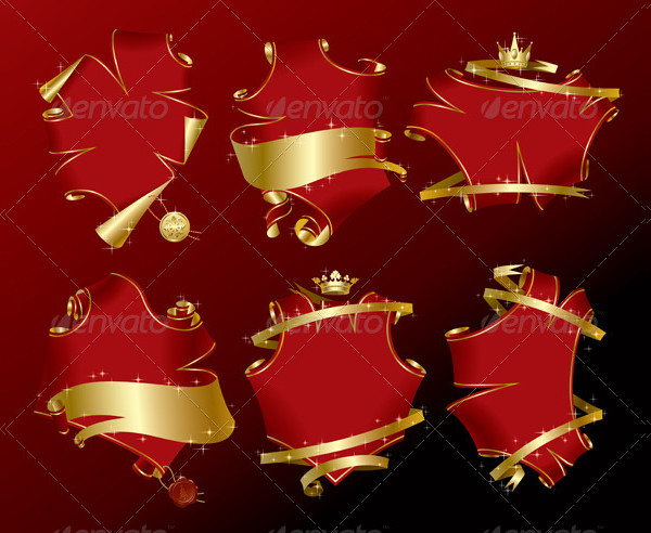 Set of Holiday Red Banners