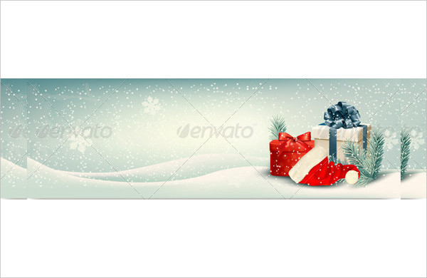 Three Retro Holiday Banners With Gift Boxes