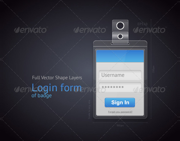 Vector Login Form Badge Template