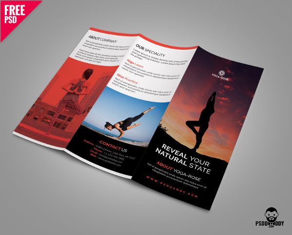 Yoga Trifold Brochure Template Free PSD