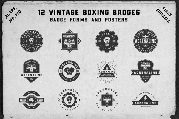 12 Vintage Boxing Badges and Forms