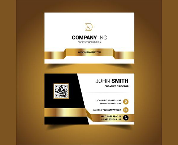 Black And Gold Light Business Card Free