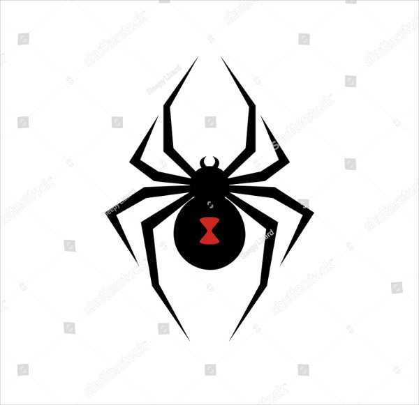 Black Widow Spider Logo Vector Illustration