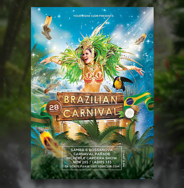 Brazilian Carnival Flyer or Poster Template