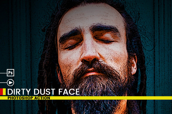 Dirty Dust Face Photoshop Actions