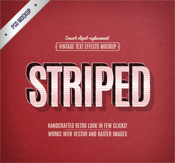 Free PSD Download Striped Text Effects Download