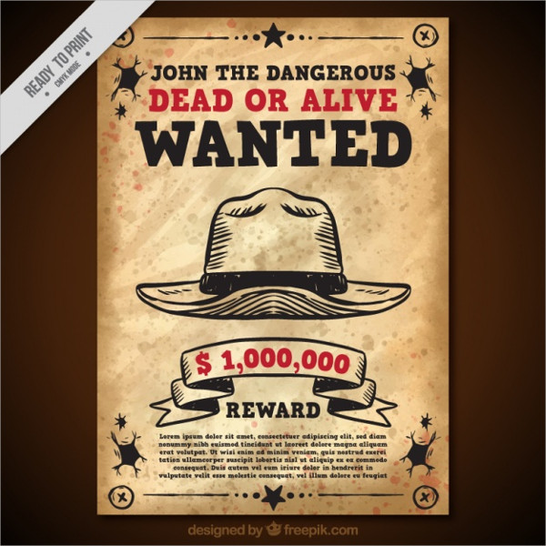 Free Download Wanted Poster With Hat In Vintage Style