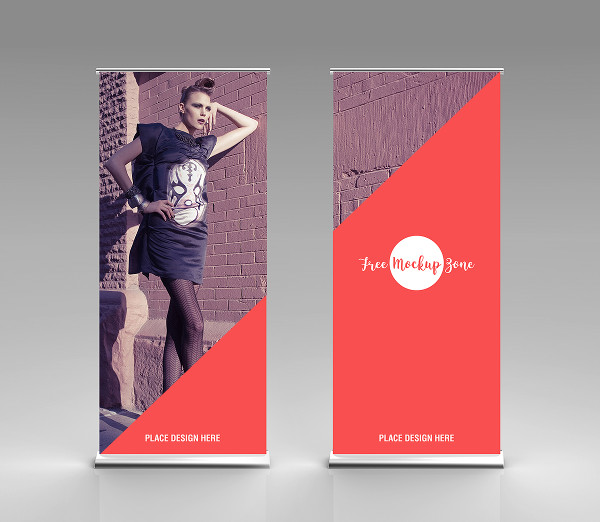 Free Rollup Stand Banner Mock-Up For Advertisement
