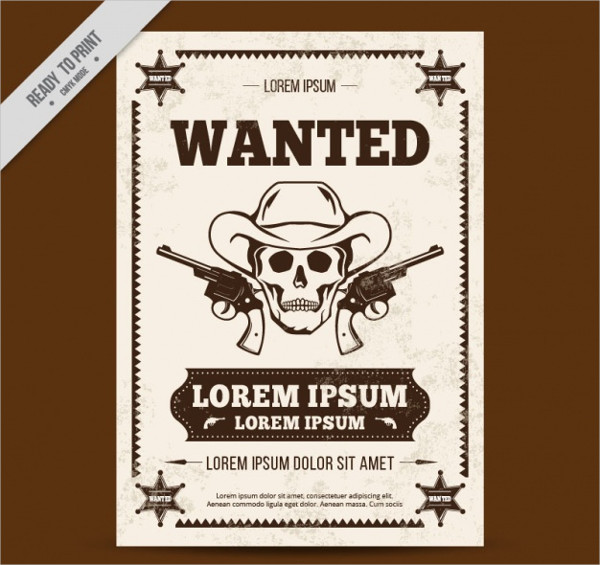 Free Western Poster With Skull Sketch