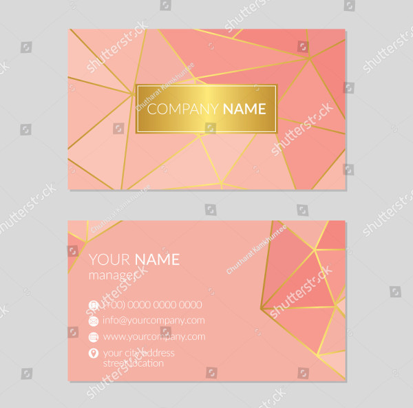 Geometric Pink and Gold Business Card Template