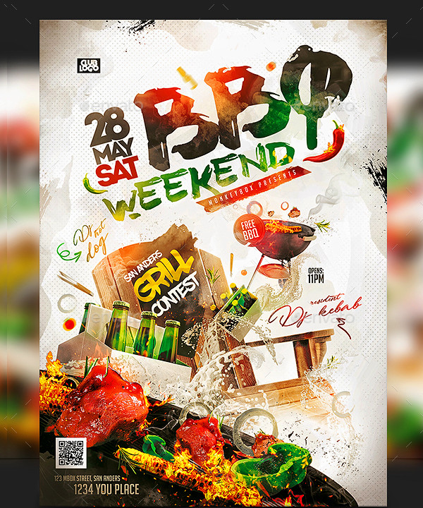 Holiday Party BBQ Flyer Template