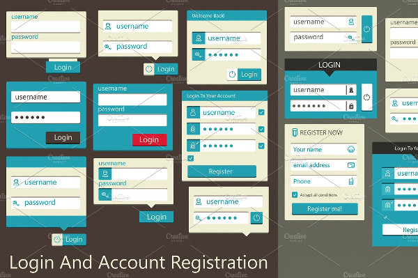 Login And Account Registration Form Template