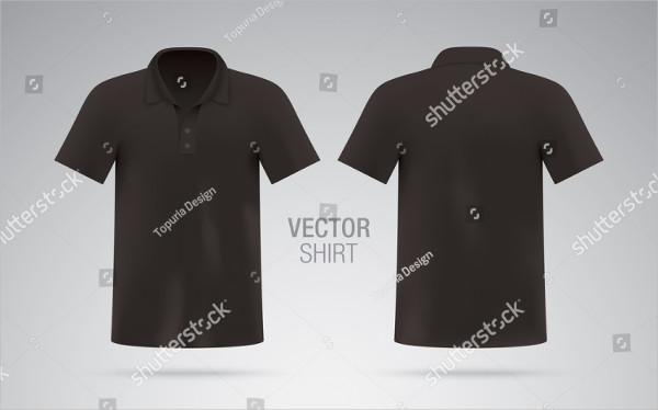 Men's Black Vector Polo Shirt Template