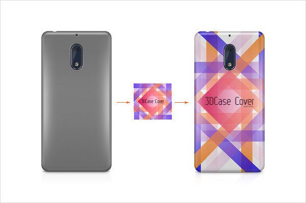 Nokia 6 3D Phone Case Mockup Back View